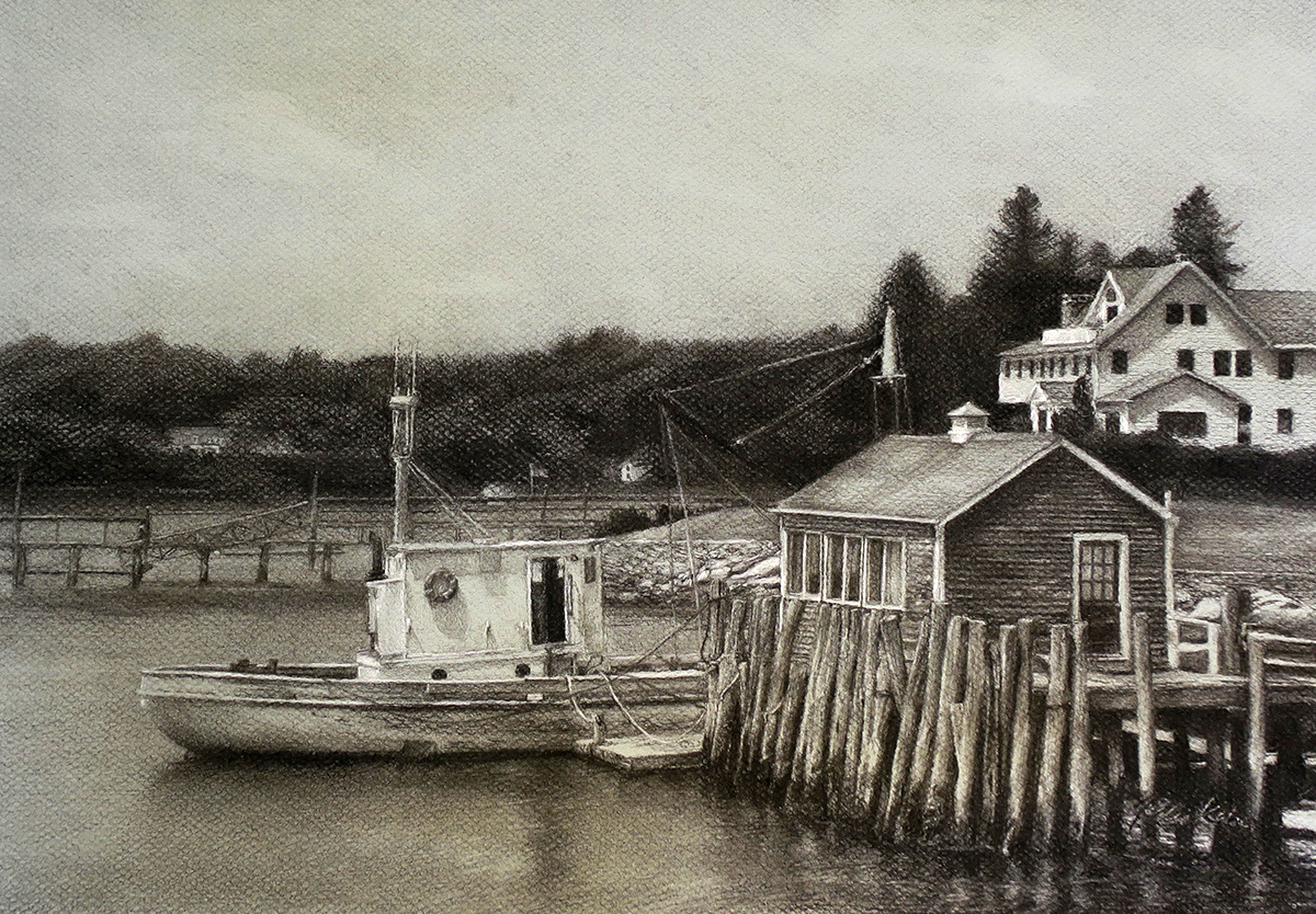 Kain_Jodie_Boothbay_Afternoon_2018_charcoal-conte_16x11.5