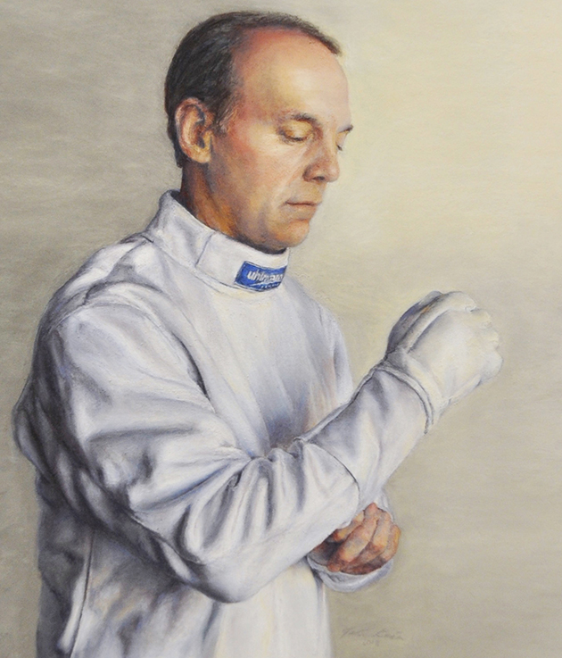 Jodie Kain - On Deck (The Veteran Fencer) pastel