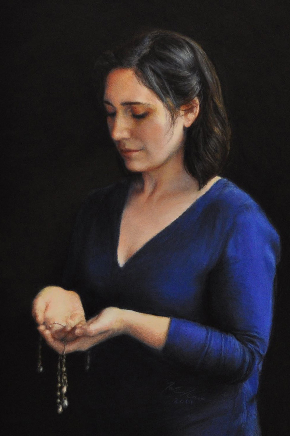 Sad woman looking down at her cupped hands where valuables flow down through her fingers leaving emptiness